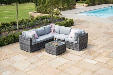 Maze Rattan Porto Corner Sofa Garden Furniture Set with Ice Bucket Table - Grey