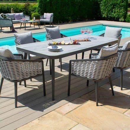Maze Rattan Portofino 6  Seat Rectangular Dining Set - Grey