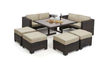 Maze Rattan Sofa Cube Dining Garden Furniture Set - Brown