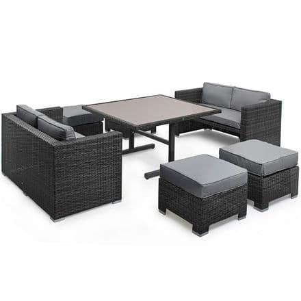 Maze Rattan Sofa Cube Dining Garden Furniture Set - Grey