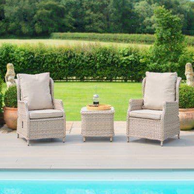 Maze Rattan Tewkesbury Reclining 2 Seat Lounge Set  - Grey/Taupe
