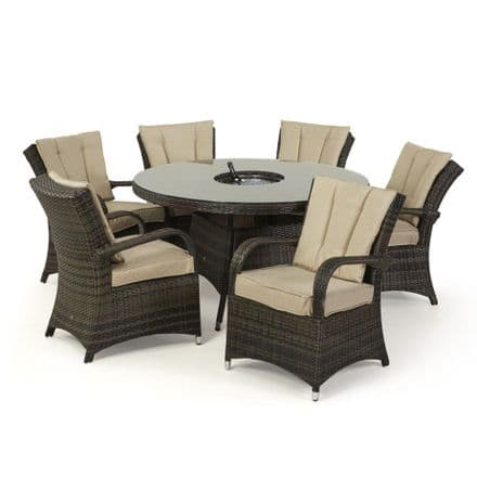 Maze Rattan Texas 6 Seat Round Ice Bucket Dining Set with Lazy Susan - Brown