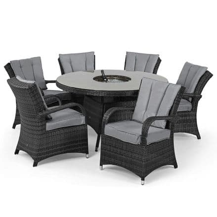 Maze Rattan Texas 6 Seat Round Ice Bucket Dining Set with Lazy Susan - Grey