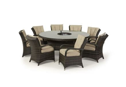 Maze Rattan Texas 8 Seat Round Ice Bucket Dining Set with Lazy Susan - Brown