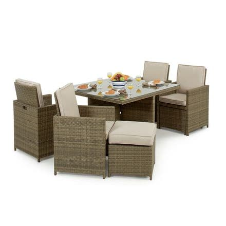 Maze Rattan Tuscany 5 Piece Cube Garden Furniture Set with Footstools - Natural