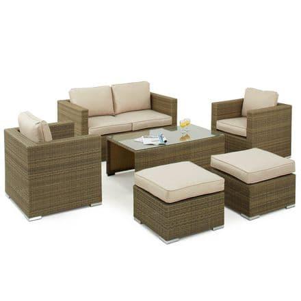 Maze Rattan Tuscany 6 Piece Garden Furniture Set - 2 Seat Sofa - Natural