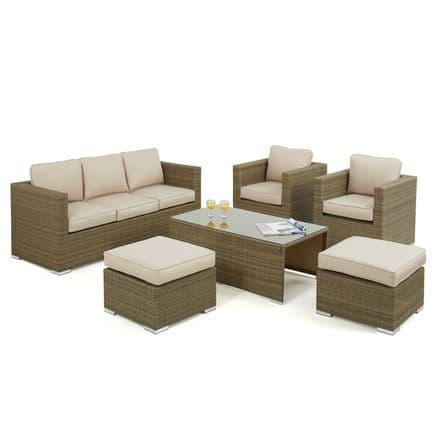 Maze Rattan Tuscany 6 Piece Garden Furniture Set - 3 Seat Sofa - Natural