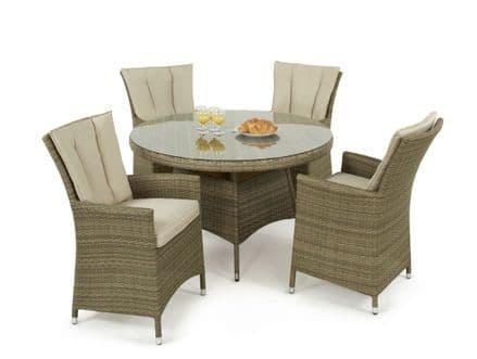 Maze Rattan Tuscany LA 4 Seat Round Dining Garden Furniture Set