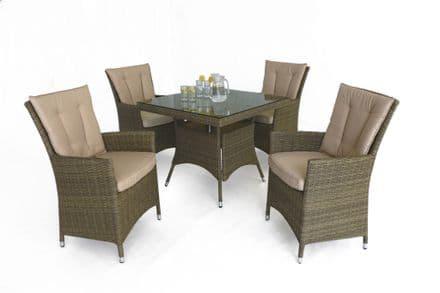 Maze Rattan Tuscany LA 4 Seat Square Dining Garden Furniture Set