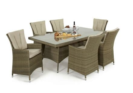 Maze Rattan Tuscany LA 6 Seat Rectangle Dining Garden Furniture Set