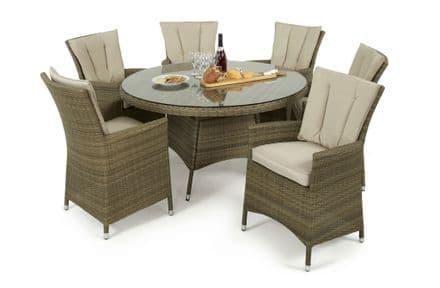 Maze Rattan Tuscany LA 6 Seat Round Dining Garden Furniture Set