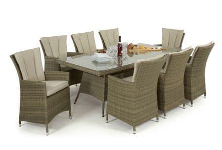 Maze Rattan Tuscany LA 8 Seat Rectangle Dining Garden Furniture Set