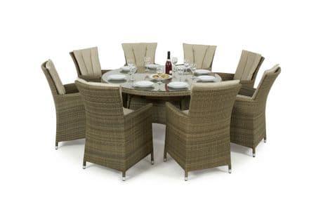Maze Rattan Tuscany LA 8 Seat Round Dining Garden Furniture Set