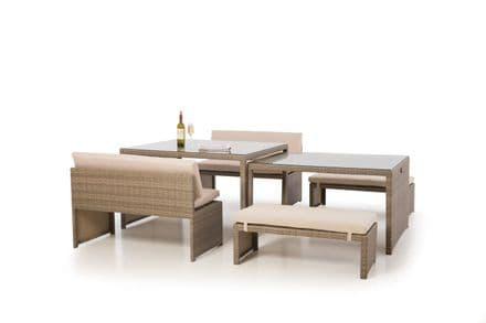 Maze Rattan - Tuscany Lyon Rattan Sofa Dining Set - Natural