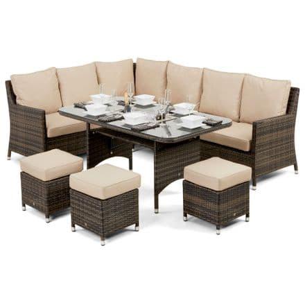 Maze Rattan Venice Corner Sofa Dining Set with Luxury Ice Bucket Insert in Brown