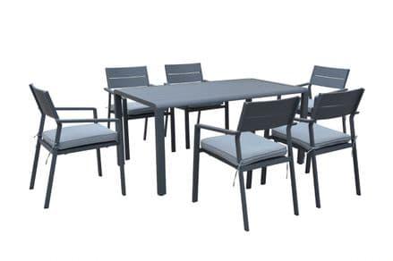 Maze Rattan - Verona 6 Seat dining Set - Grey