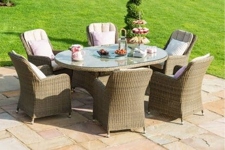 Maze Rattan-Winchester 6 Seat Oval Fire Pit Dining Set with Venice Chairs - Natural