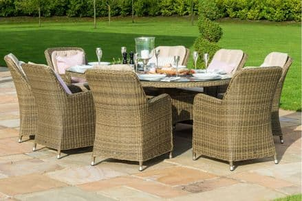 Maze Rattan-Winchester 8 Seat Oval Fire Pit Dining Set with Venice Chairs - Natural