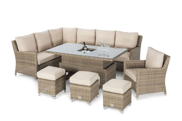 Maze Rattan - Winchester Corner Dining Set with Armchair, Ice Bucket & Rising Table