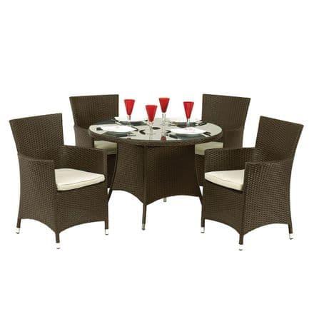 Royalcraft Cannes Mocha Brown Rattan 4 Seat Round Dining Garden Furniture Set