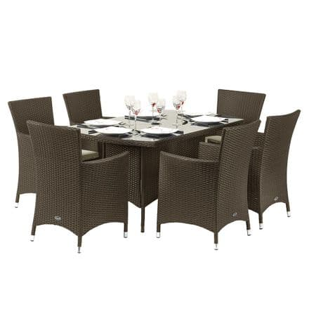Royalcraft Cannes Rattan Mocha Brown 6 Seat Rectangular Dining Garden Furniture Set