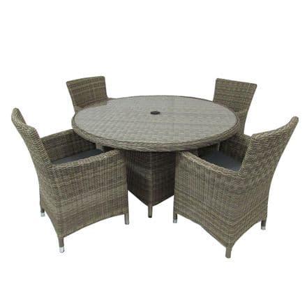 Royalcraft Wentworth Rattan 4 Seat Round Carver Dining Garden Furniture Set