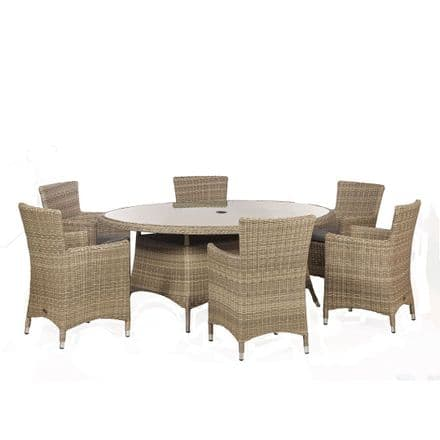 Royalcraft Wentworth Rattan 6 Seat Oval Carver Dining Garden Furniture Set