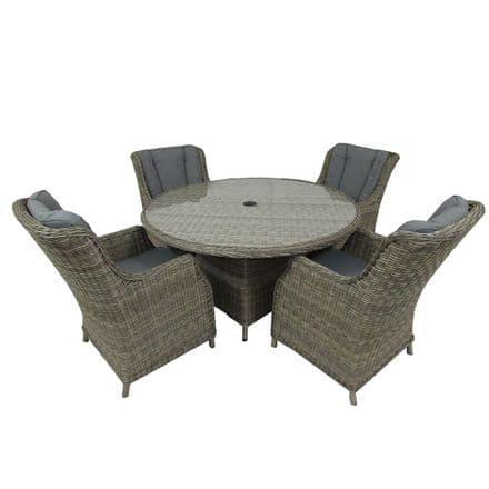 Royalcraft Wentworth Rattan Round 4 Seater Comfort Dining Garden Furniture Set