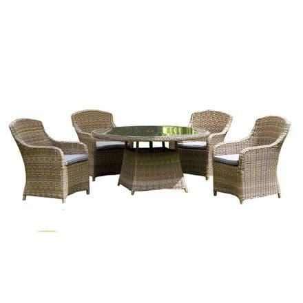 Royalcraft Wentworth Rattan Round 4 Seater Imperial Dining Garden Furniture Set