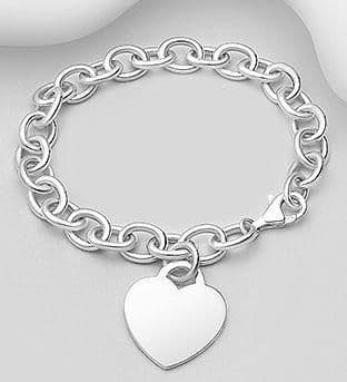 925 Sterling Silver Bracelet with a Solid Heart Charm.