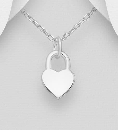 925 Sterling Silver Engravable Heart Charm Pendant & Chain