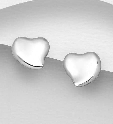 925 Sterling Silver Solid Heart Shaped Stud Earrings