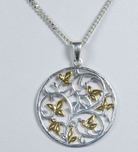 925 Solid Sterling Silver Bird Pendant & Chain With 18ct Gold