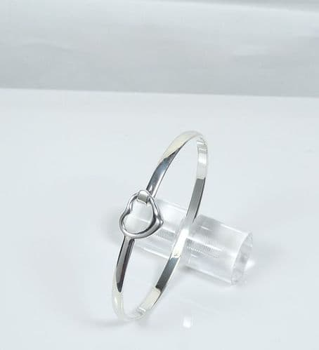 925 Solid Sterling Silver Tiffaney Small Heart Bangle That Opens 3 Sizes