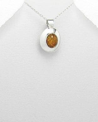 925 Sterling Silver Amber Stone Set Pendant & Chain With a Plain Polished Silver Surround
