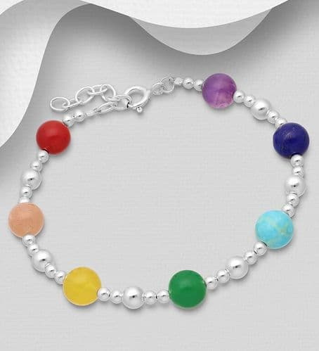 925 Sterling Silver Ball and Chakra Bracelet, Decorated with Various Gemstones