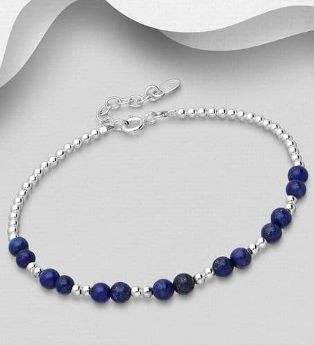 925 Sterling Silver Ball Bracelet, Beaded with Various Gemstone Beads
