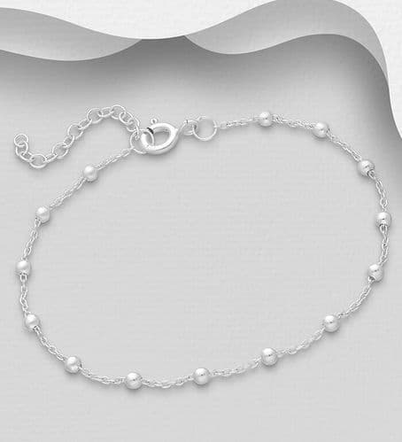 925 Sterling Silver Ball Bracelet, Made in Italy.