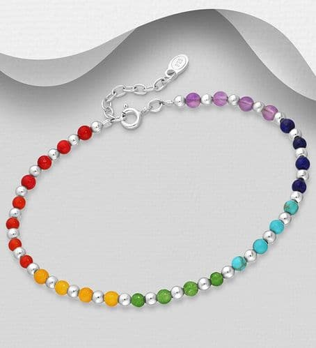 925 Sterling Silver Ball Bracelet Set With Cultured Chakra  Beads