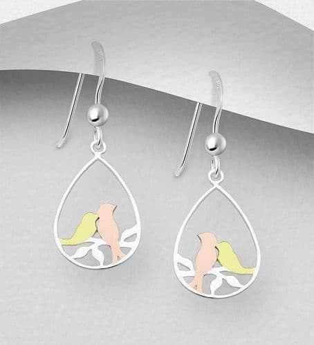 925 Sterling Silver Bird Earrings With 18K Yellow Gold & Pink Gold