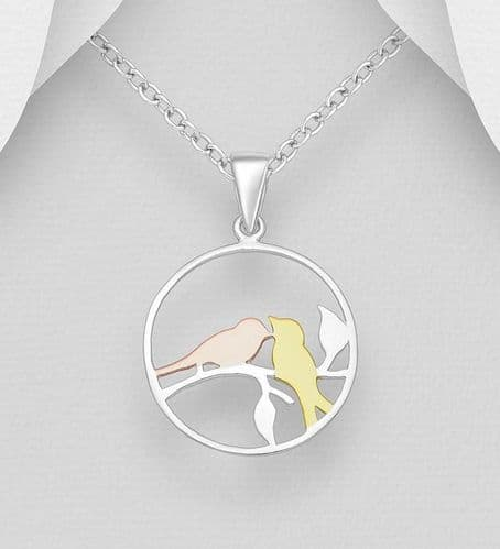 925 Sterling Silver Bird Pendant & Chain With 18ct Gold