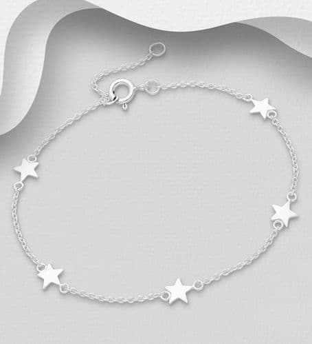 925 Sterling Silver Bracelet with Star Charms