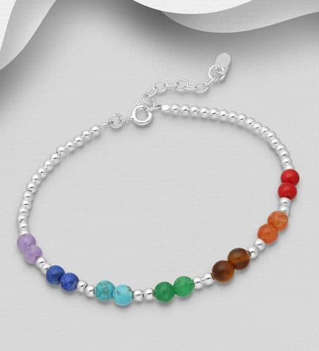 925 Sterling Silver Chakra and Ball Bracelet, Beaded with Various Gemstones