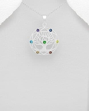 925 Sterling Silver Chakra and Tree of Life Pendant & Chain, Set with Colorful CZ Simulated Diamonds