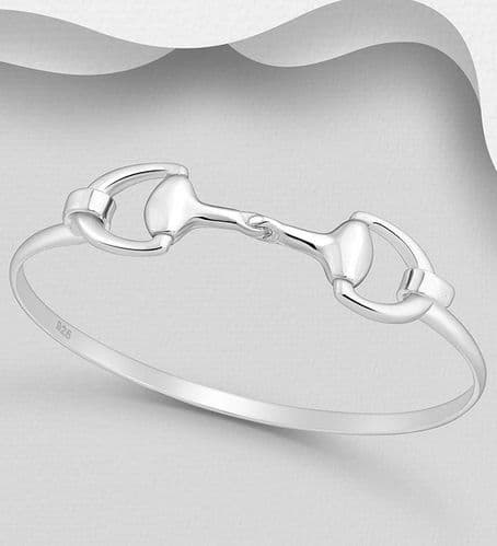 925 Sterling Silver  Double Horse Snaffle Bangle That Opens