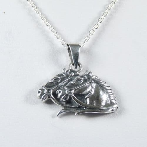 925 Sterling Silver Double Horses Head Pendant & Chain
