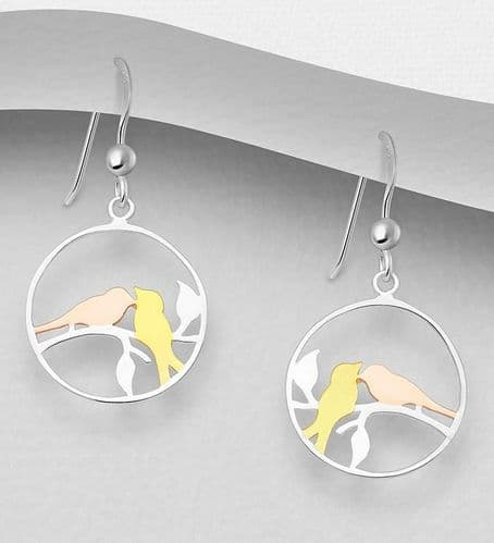 925 Sterling Silver Drop Bird Earrings, with 18K Yellow & Pink Gold