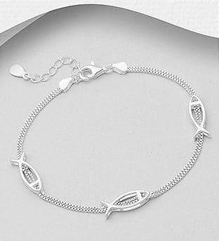 925 Sterling Silver Fish Bracelet - With Bracelet Extender