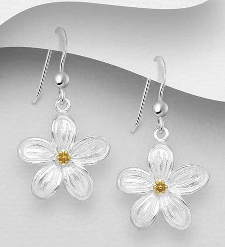 925 Sterling Silver Flower Drop Earrings,  With 18ct Yellow Gold