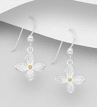 925 Sterling Silver Flower Drop Earrings, with 18K Yellow Gold